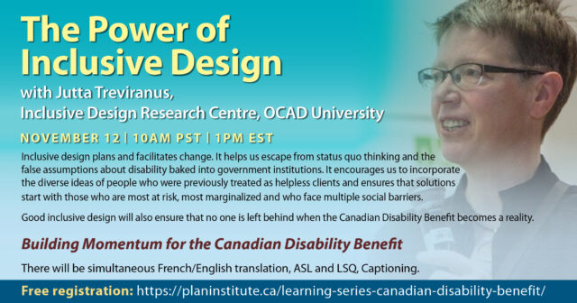 an image of Jutta Treviranus, and the title the power of inclusive design